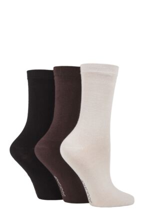 Ladies 3 Pair SOCKSHOP Patterned Plain and Striped Bamboo Socks Black / Cocoa / Biscuit Plain 4-8 Ladies