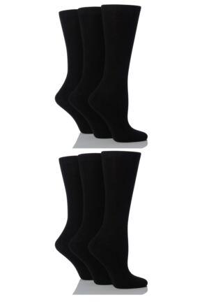 Ladies 6 Pair SockShop Plain Bamboo Socks Black