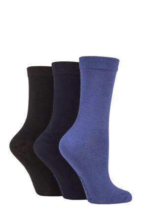 Ladies 3 Pair SOCKSHOP Patterned Plain and Striped Bamboo Socks Black / Navy / Denim Plain 4-8 Ladies