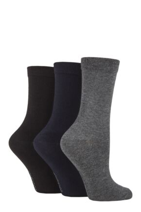 Ladies 3 Pair SOCKSHOP Patterned Plain and Striped Bamboo Socks Black / Navy / Grey Plain 4-8 Ladies