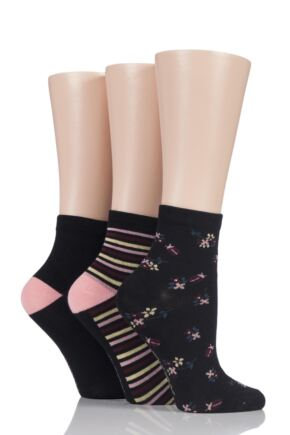 Ladies 3 Pair SockShop Insect Patterned Bamboo Socks
