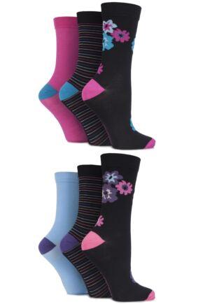 Ladies 6 Pair SockShop Pure Natural Bamboo Plain, Striped and Floral Socks Black Multi 4-8