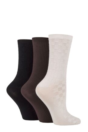 Ladies 3 Pair SOCKSHOP Patterned Plain and Striped Bamboo Socks Black / Cocoa / Biscuit Textured 4-8 Ladies