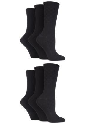 Ladies 6 Pair SockShop Pure Natural Bamboo Textured Socks