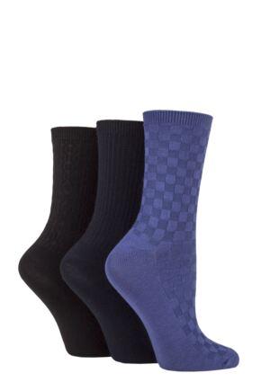 Ladies 3 Pair SOCKSHOP Patterned Plain and Striped Bamboo Socks Black / Navy / Denim Textured 4-8 Ladies