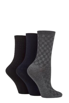 Ladies 3 Pair SOCKSHOP Patterned Plain and Striped Bamboo Socks Black / Navy / Grey Textured 4-8 Ladies