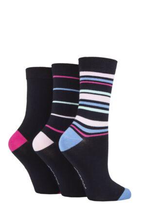 Ladies 3 Pair SOCKSHOP Patterned Plain and Striped Bamboo Socks Navy / Cornflower Striped 4-8 Ladies