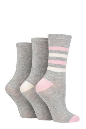 Ladies 3 Pair SOCKSHOP Patterned Plain and Striped Bamboo Socks French Lavender 4-8 Ladies