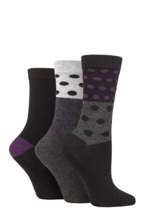 Ladies 3 Pair SOCKSHOP Patterned Plain and Striped Bamboo Socks Black / Beetroot Patterned 4-8 Ladies