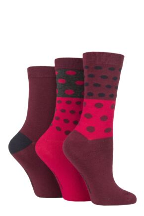 Ladies 3 Pair SOCKSHOP Patterned Plain and Striped Bamboo Socks Ruby Red Patterned 4-8 Ladies