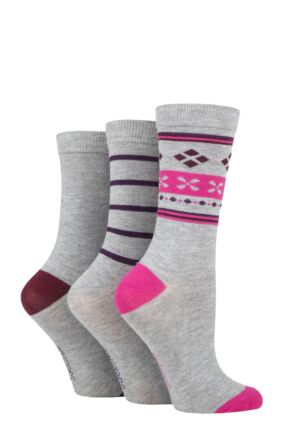 Ladies 3 Pair SOCKSHOP Patterned Plain and Striped Bamboo Socks Claret Patterned 4-8 Ladies