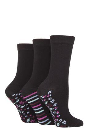 Ladies 3 Pair SOCKSHOP Patterned Plain and Striped Bamboo Socks Black Floral 4-8 Ladies