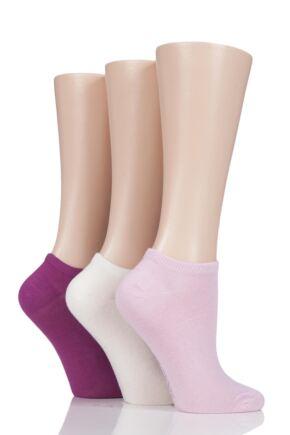 Ladies 3 Pair SockShop Bamboo Trainer Socks with Smooth Toe Seams Flamingo 4-8