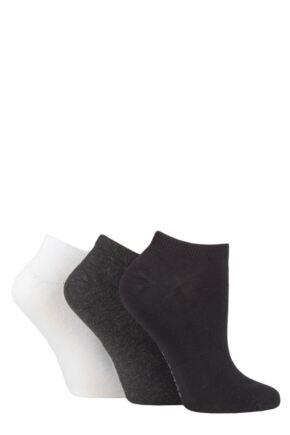 Ladies 3 Pair SOCKSHOP Bamboo Trainer Socks with Smooth Toe Seams