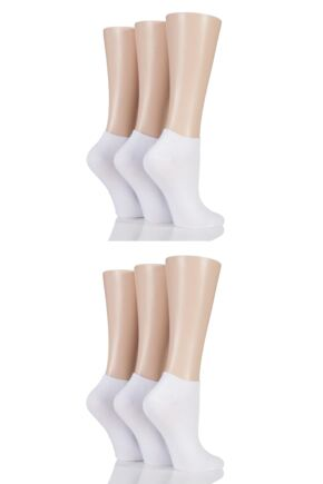 Ladies 6 Pair SOCKSHOP Bamboo Trainer Socks with Smooth Toe Seams