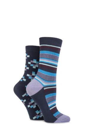Ladies 2 Pair SockShop Patterned Bamboo Socks