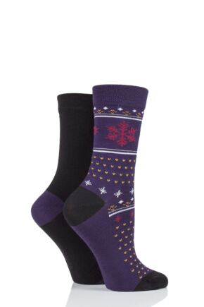 Ladies 2 Pair SOCKSHOP Patterned Bamboo Socks with Smooth Toe Seams Black Fair Isle 4-8 Ladies