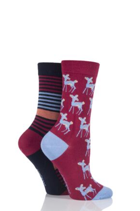 Ladies 2 Pair SockShop Deer Patterned and Striped Bamboo Socks Burgundy 4-8