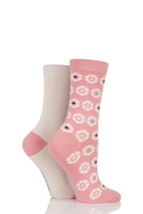 Ladies 2 Pair SockShop Patterned Bamboo Socks with Smooth Toe Seams