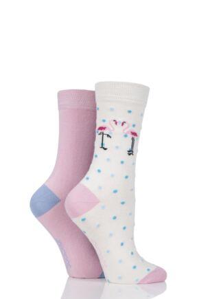 Ladies 2 Pair SockShop Patterned Bamboo Socks with Smooth Toe Seams Pink Flamingo 4-8