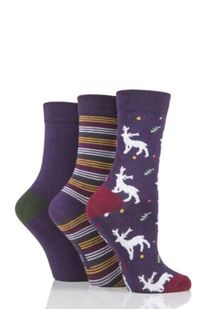 Ladies 3 Pair SOCKSHOP Bamboo Feather Socks Purple Deer 4-8 Ladies