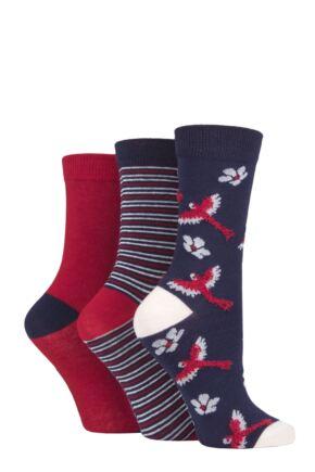 Ladies 3 Pair SOCKSHOP Bamboo Feather Socks