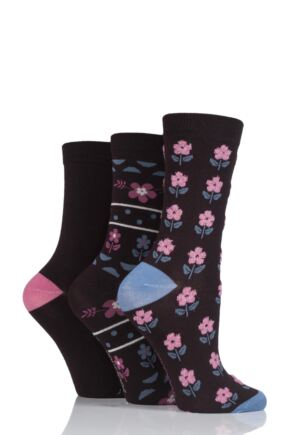 Ladies 3 Pair SockShop Bamboo Feather Socks
