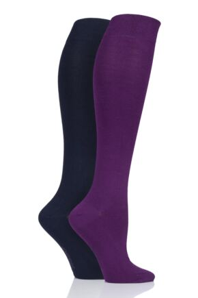 Ladies 2 Pair SockShop Patterned, Striped and Plain Bamboo Knee High Socks