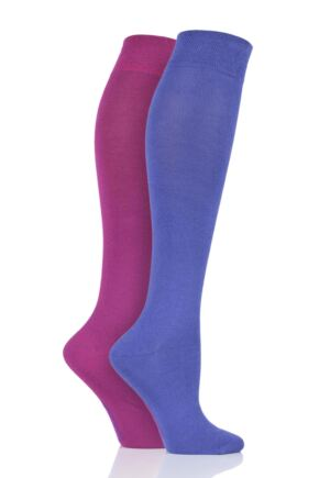 Ladies 2 Pair Sockshop Plain Bamboo Knee High Socks with Smooth Toe Seams