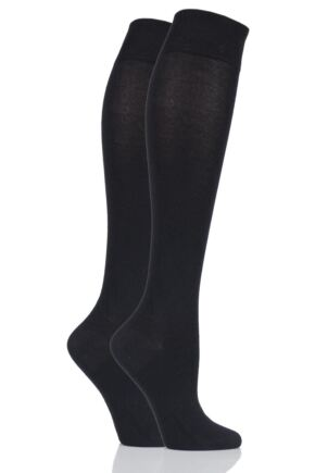 Ladies 2 Pair Sockshop Plain Bamboo Knee High Socks with Smooth Toe Seams Black