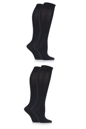 Ladies 4 Pair Sockshop Plain Bamboo Knee High Socks with Smooth Toe Seams