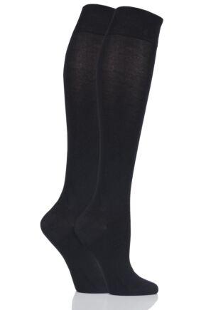 Ladies 2 Pair SOCKSHOP Plain and Patterned Bamboo Knee High Socks with Smooth Toe Seams