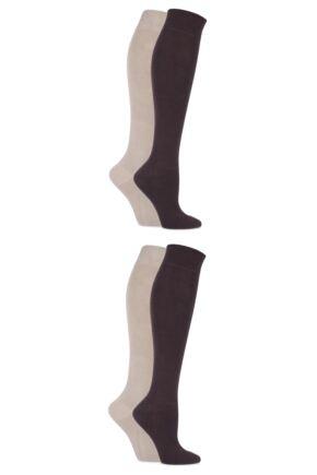 Ladies 4 Pair Sockshop Bamboo Knee High Socks with Smooth Toe Seams