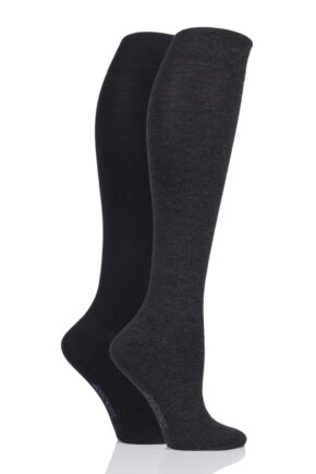 Ladies 2 Pair Sockshop Plain Bamboo Knee High Socks with Smooth Toe Seams Grey