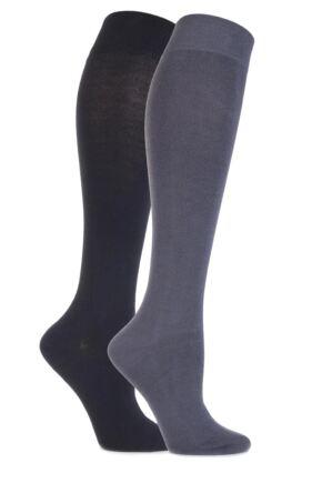 Ladies 2 Pair Sockshop Plain Bamboo Knee High Socks with Smooth Toe Seams