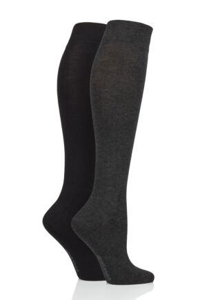Ladies 2 Pair SOCKSHOP Plain and Patterned Bamboo Knee High Socks with Smooth Toe Seams Grey