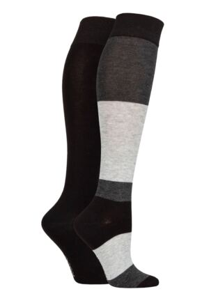 Ladies 2 Pair SOCKSHOP Plain and Patterned Bamboo Knee High Socks with Smooth Toe Seams Charcoal 4-8 Ladies