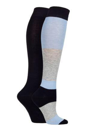 Ladies 2 Pair SOCKSHOP Plain and Patterned Bamboo Knee High Socks with Smooth Toe Seams Kentucky Blue 4-8 Ladies