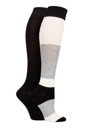 Ladies 2 Pair SOCKSHOP Plain and Patterned Bamboo Knee High Socks with Smooth Toe Seams Monochrome 4-8 Ladies