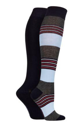 Ladies 2 Pair SOCKSHOP Plain and Patterned Bamboo Knee High Socks with Smooth Toe Seams Nautical Navy 4-8 Ladies