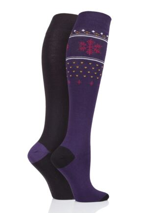 Ladies 2 Pair SOCKSHOP Patterned, Striped and Plain Bamboo Knee High Socks Black Fair Isle 4-8 Ladies