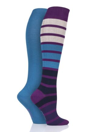 Ladies 2 Pair SockShop Patterned, Striped and Plain Bamboo Knee High Socks