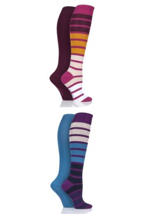Ladies 4 Pair SOCKSHOP Bamboo Knee High Socks with Smooth Toe Seams
