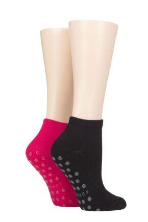Mens and Ladies 2 Pair Lazy Panda Bamboo Cushioned Slipper Socks Melon / Black 4-8 Ladies