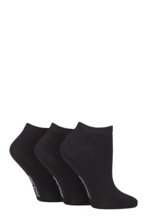 Ladies 3 Pair SOCKSHOP Striped, Plain, Ribbed and Mesh Bamboo Trainer Socks Black Plain 4-8