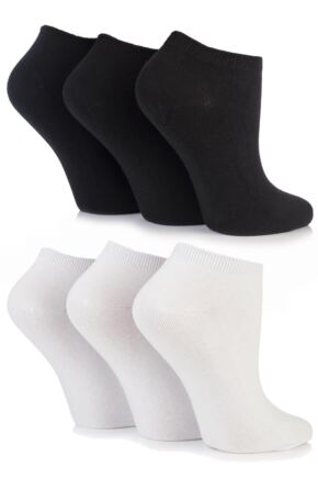 Ladies 6 Pair SockShop Plain Bamboo Trainer Socks