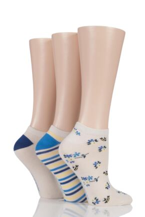 Ladies 3 Pair SockShop Insect Patterned Bamboo Trainer Socks