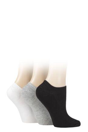 Ladies 3 Pair Elle Bamboo Ribbed No Show Socks