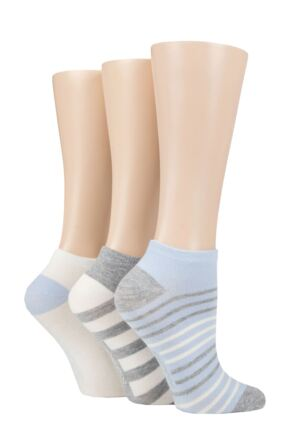Ladies 3 Pair SOCKSHOP Striped, Plain, Ribbed and Mesh Bamboo Trainer Socks