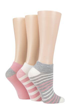 Ladies 3 Pair SOCKSHOP Striped, Plain, Ribbed and Mesh Bamboo Trainer Socks